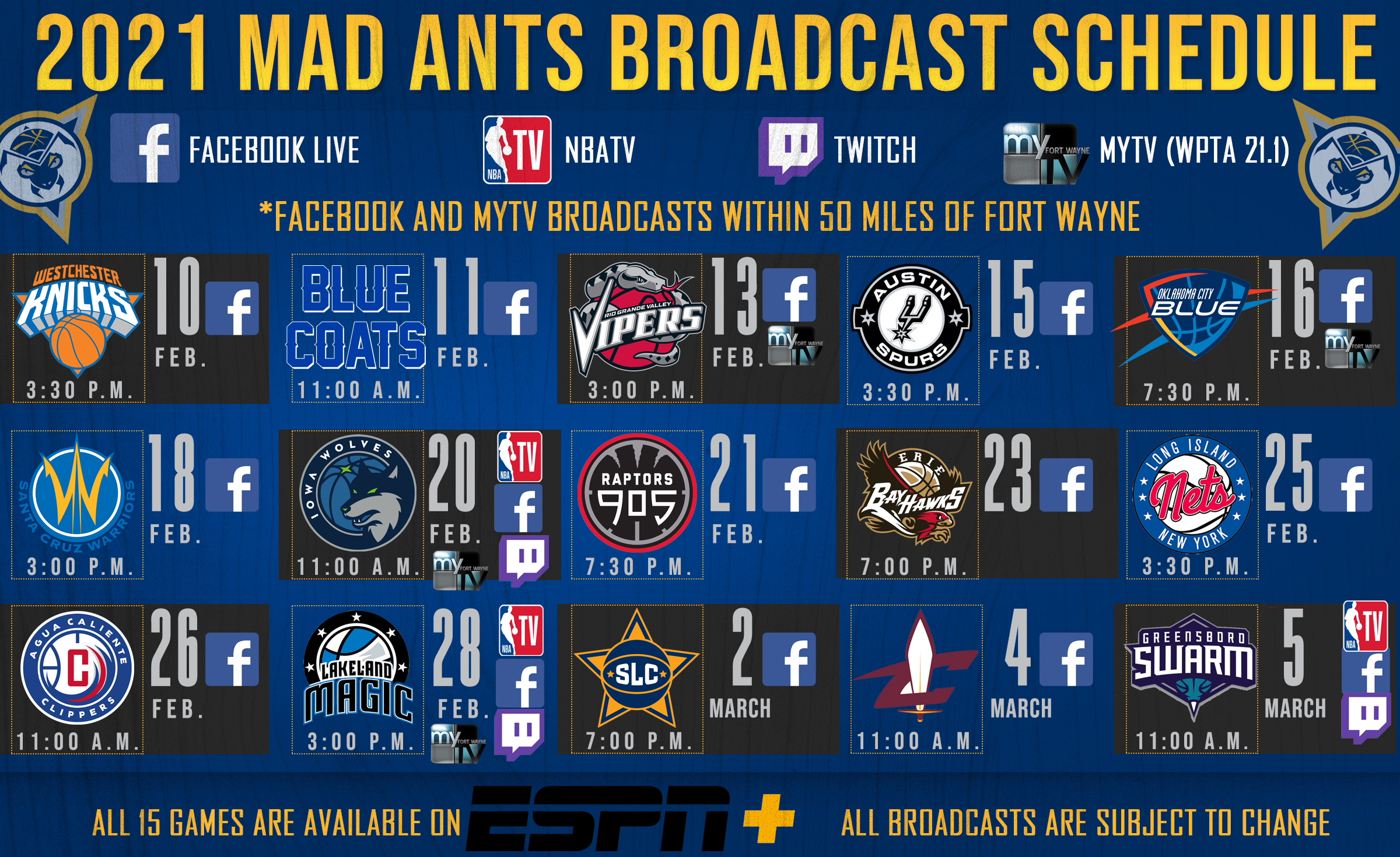 Mad Ants Broadcast Schedule